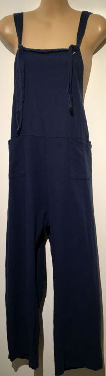 NAVY BLUE COTTON TIE SHOULDER JUMPSUIT DUNGAREES SIZE UK 18-20
